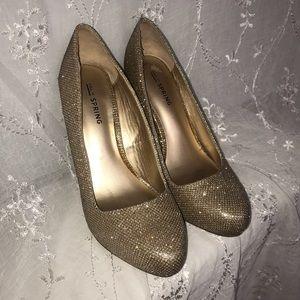 Spring Gold Glitter Sparkly Women's Heeled Pumps